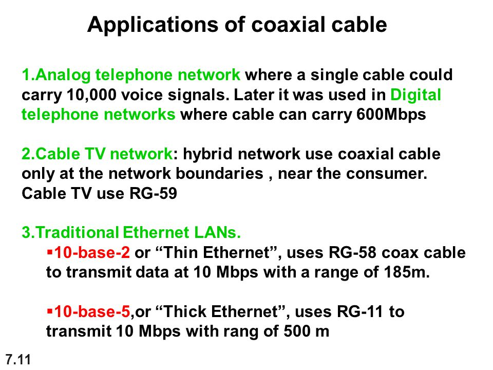 Applications of coaxial cable
