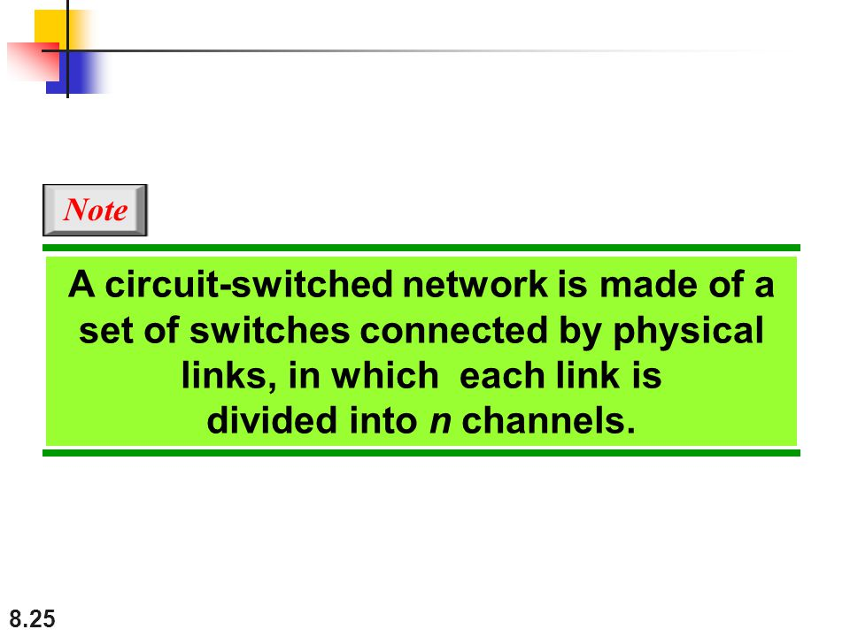 Note A circuit-switched network is made of a set of switches connected by physical links, in which each link is divided into n channels.