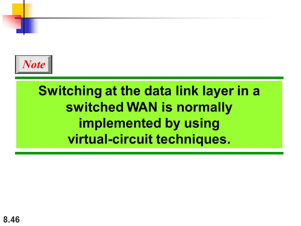 Switching at the data link layer in a switched WAN is normally