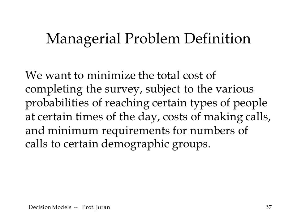 Managerial Problem Definition