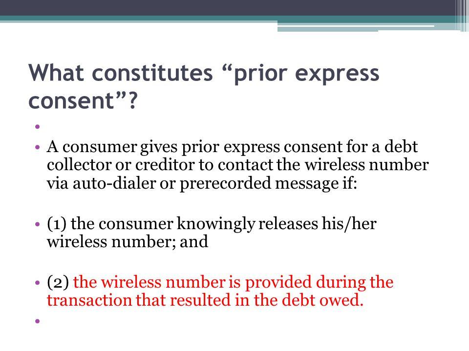What constitutes prior express consent