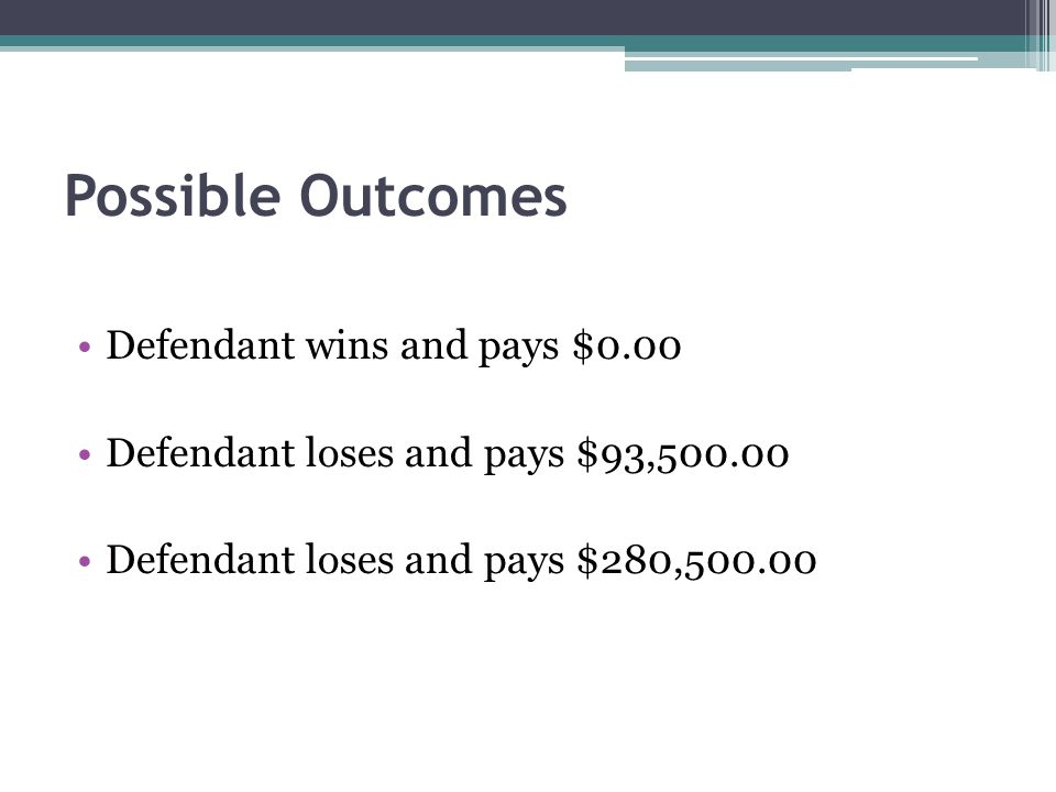Possible Outcomes Defendant wins and pays $0.00