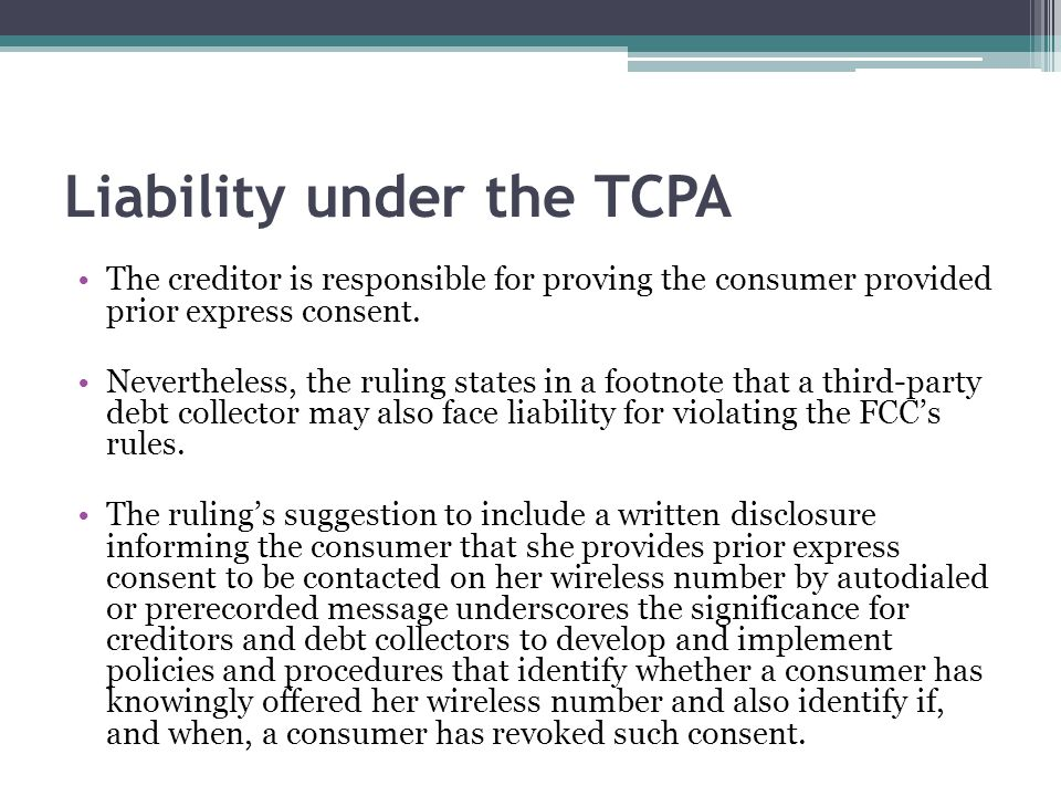 Liability under the TCPA
