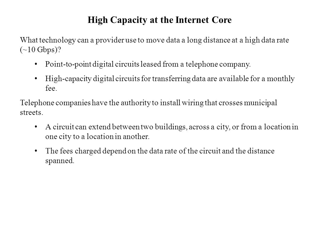 High Capacity at the Internet Core