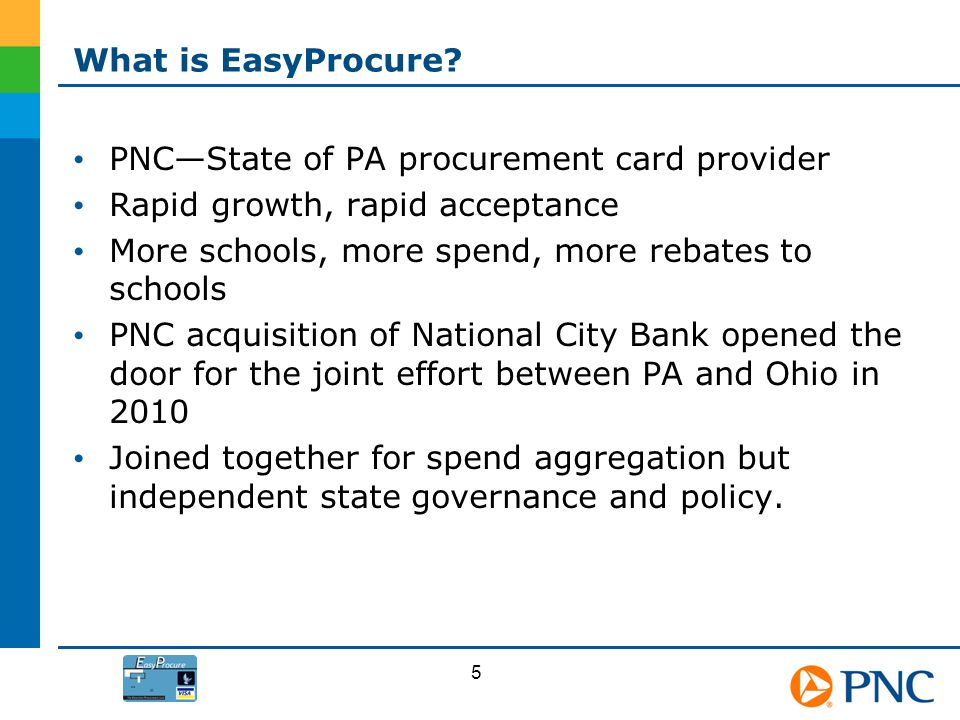 PNC—State of PA procurement card provider