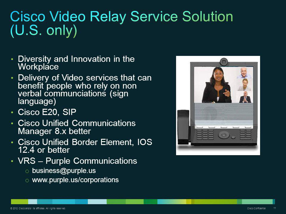 Cisco Video Relay Service Solution (U.S. only)