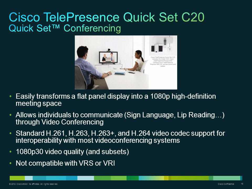 Cisco TelePresence Quick Set C20 Quick Set™ Conferencing
