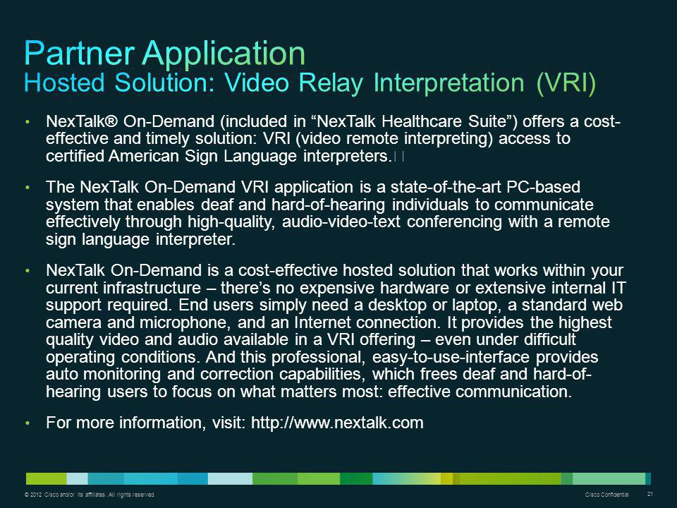 Partner Application Hosted Solution: Video Relay Interpretation (VRI)