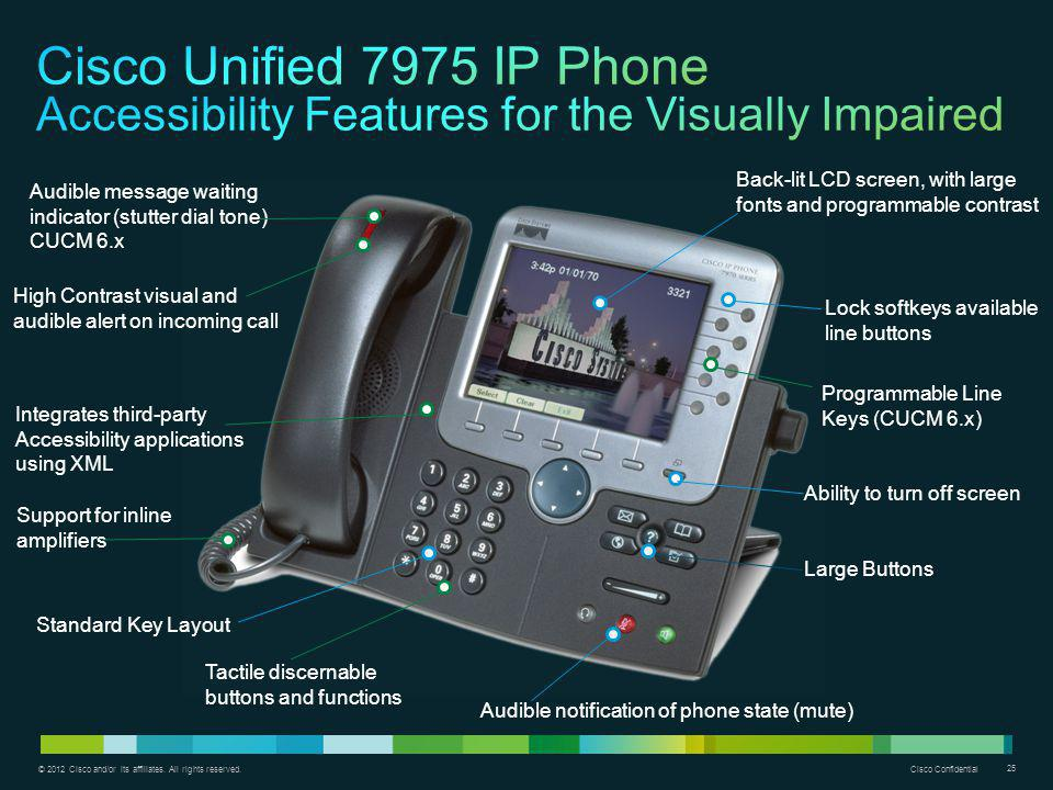 Cisco Unified 7975 IP Phone Accessibility Features for the Visually Impaired