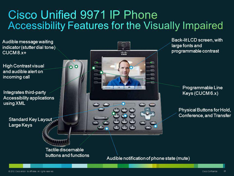 Cisco Unified 9971 IP Phone Accessibility Features for the Visually Impaired
