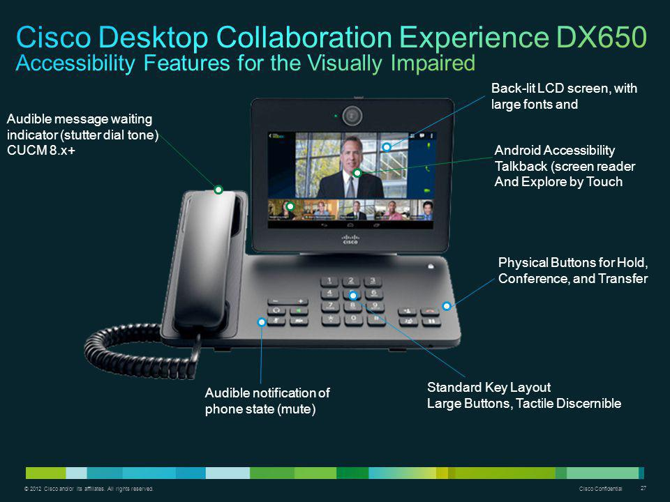 Cisco Desktop Collaboration Experience DX650 Accessibility Features for the Visually Impaired