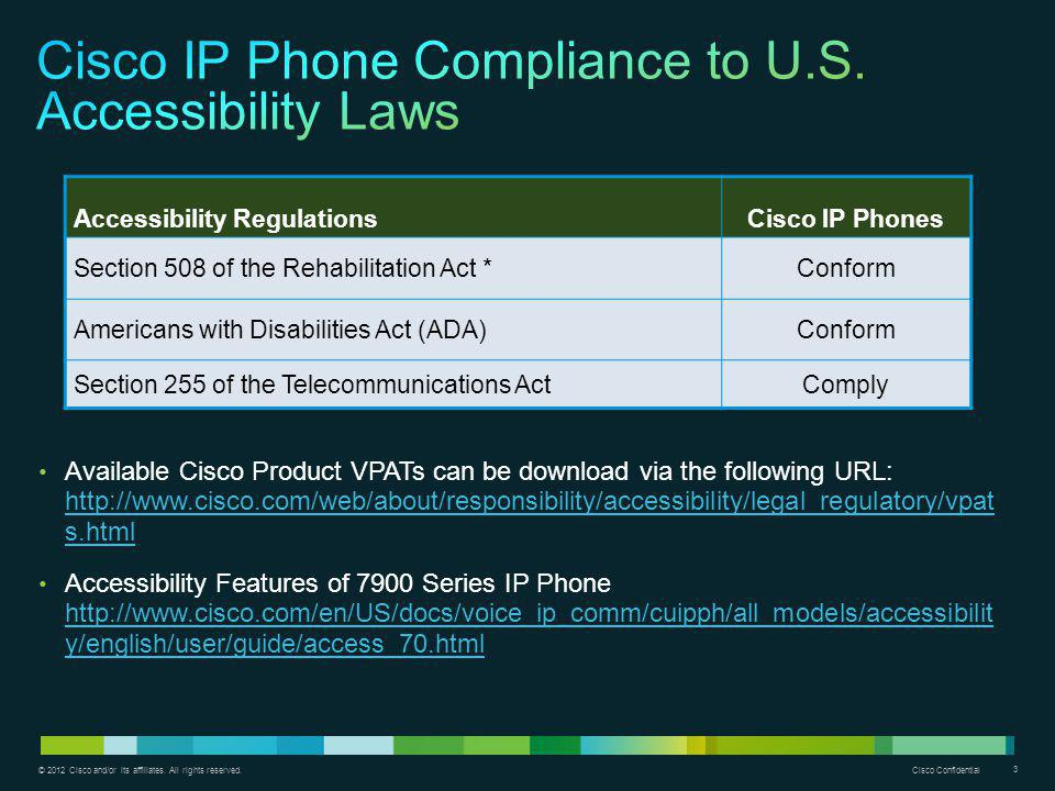 Cisco IP Phone Compliance to U.S. Accessibility Laws