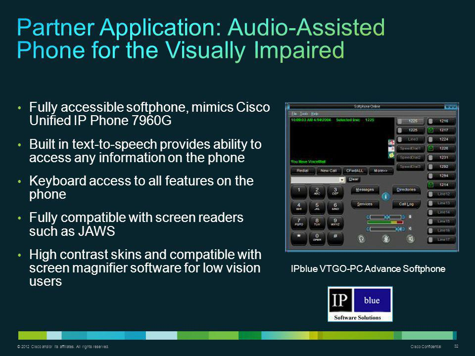Partner Application: Audio-Assisted Phone for the Visually Impaired
