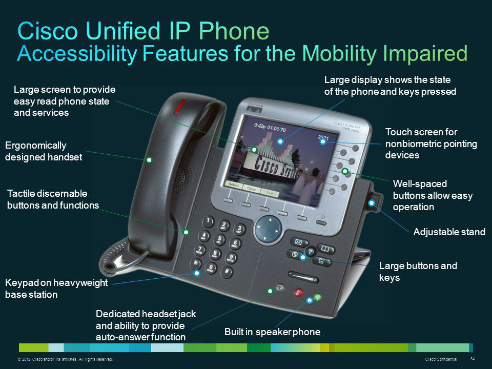 Cisco Unified IP Phone Accessibility Features for the Mobility Impaired