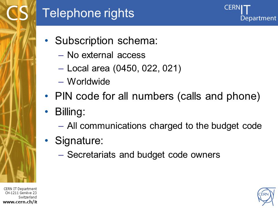Telephone rights Subscription schema: