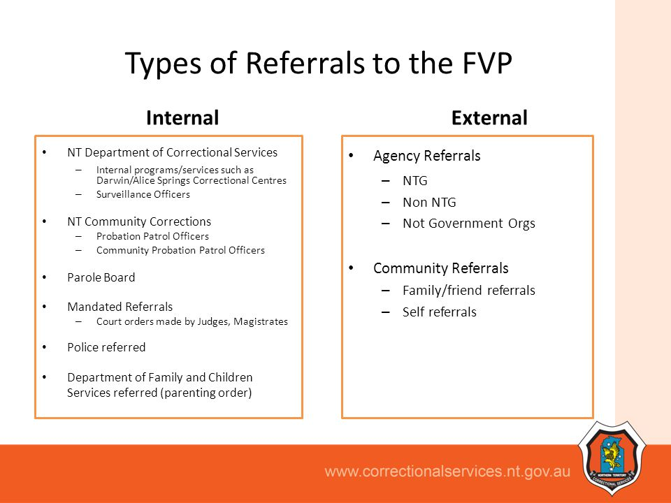 Types of Referrals to the FVP