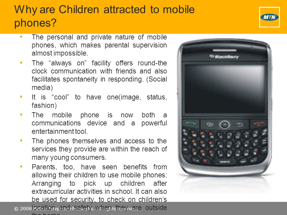 Why are Children attracted to mobile phones