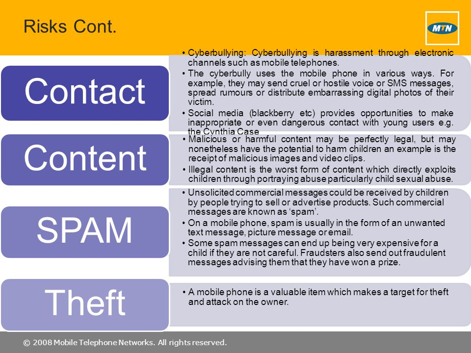 Contact Content SPAM Theft Risks Cont.