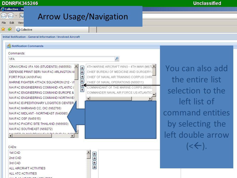 Arrow Usage/Navigation