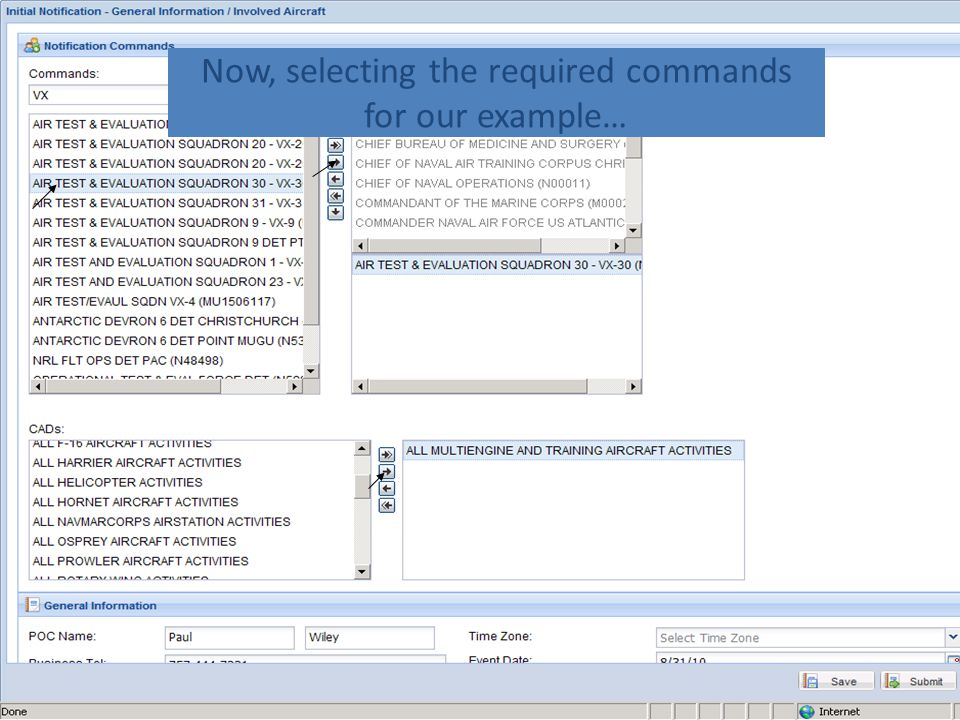 Now, selecting the required commands for our example…