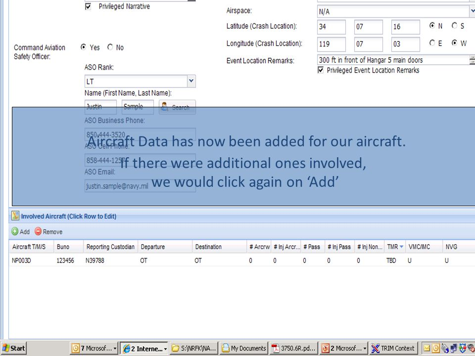 Aircraft Data has now been added for our aircraft