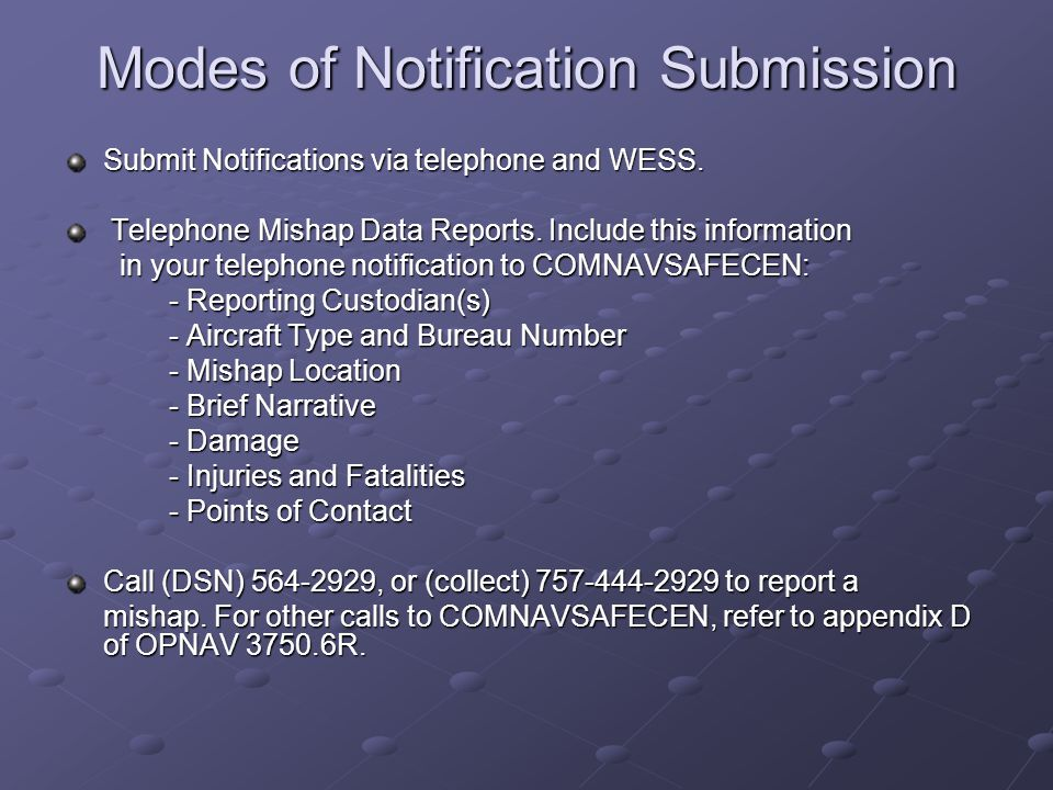 Modes of Notification Submission