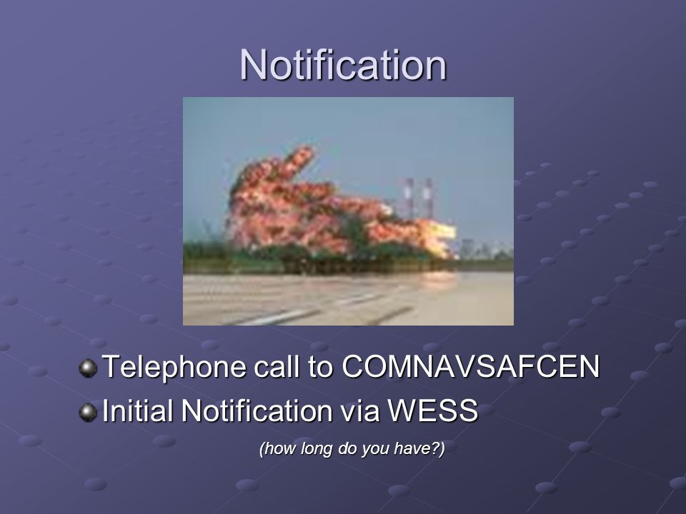 Notification Telephone call to COMNAVSAFCEN
