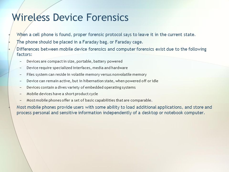 Wireless Device Forensics