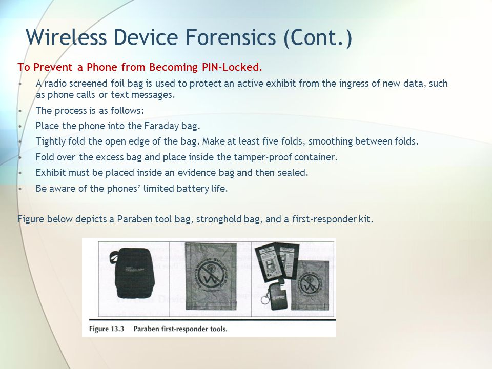 Wireless Device Forensics (Cont.)