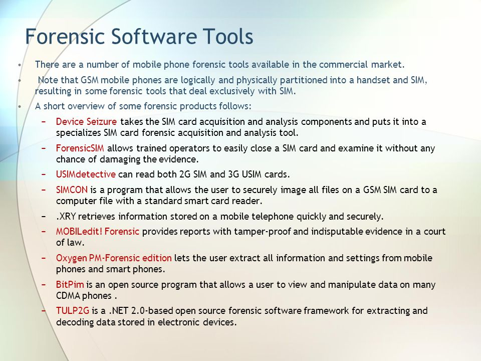 Forensic Software Tools