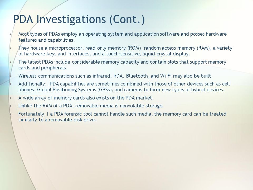 PDA Investigations (Cont.)