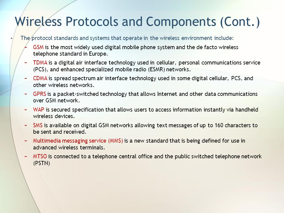 Wireless Protocols and Components (Cont.)