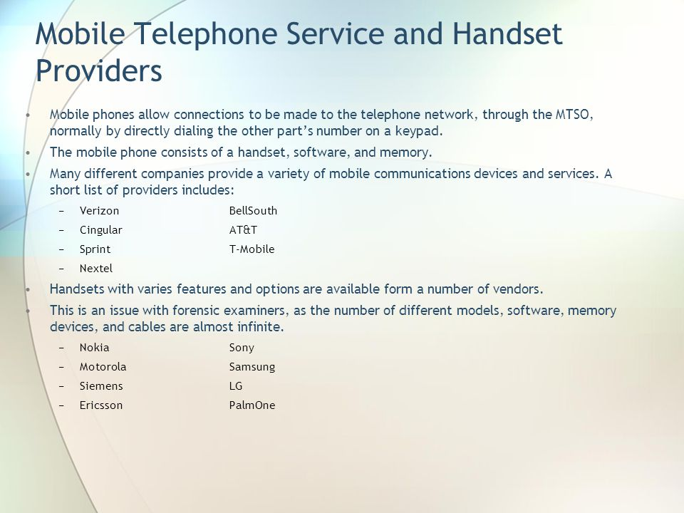 Mobile Telephone Service and Handset Providers