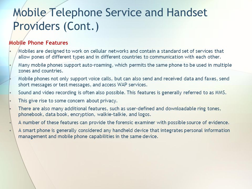 Mobile Telephone Service and Handset Providers (Cont.)