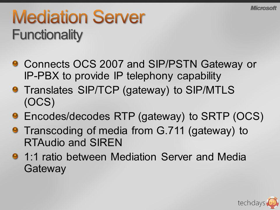 Mediation Server Functionality