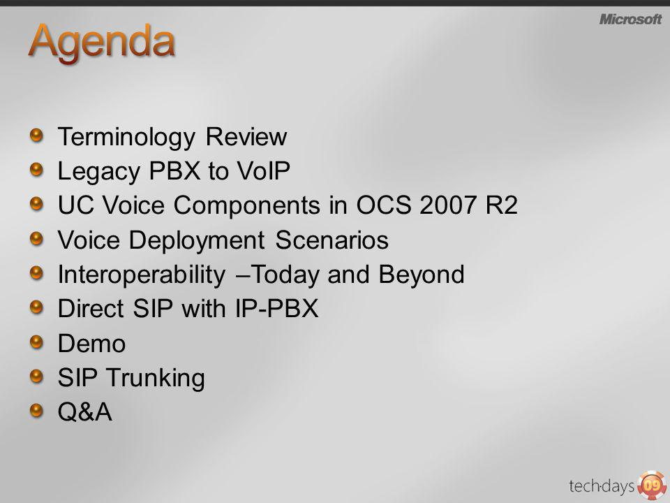 Agenda Terminology Review Legacy PBX to VoIP