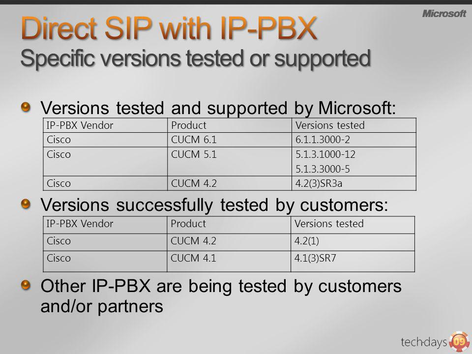 Direct SIP with IP-PBX Specific versions tested or supported