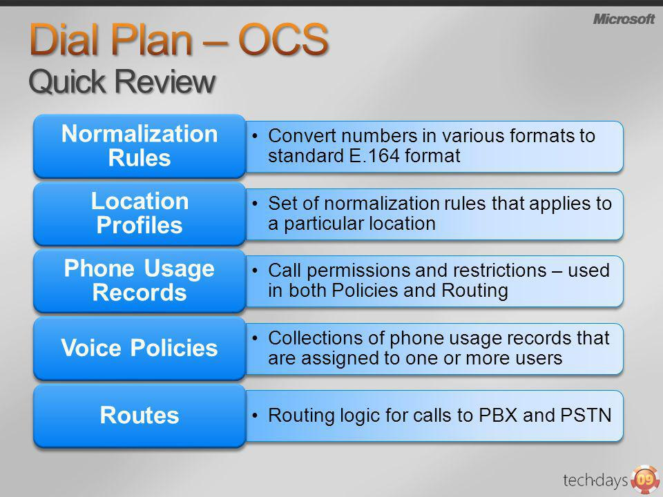 Dial Plan – OCS Quick Review