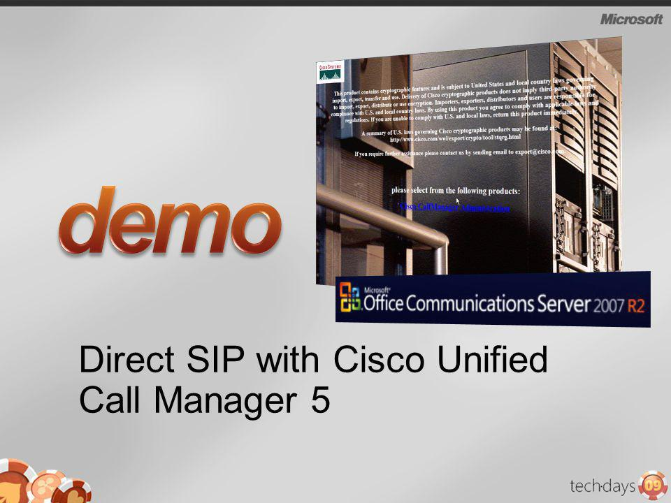 Direct SIP with Cisco Unified Call Manager 5