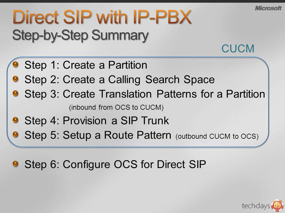 Direct SIP with IP-PBX Step-by-Step Summary