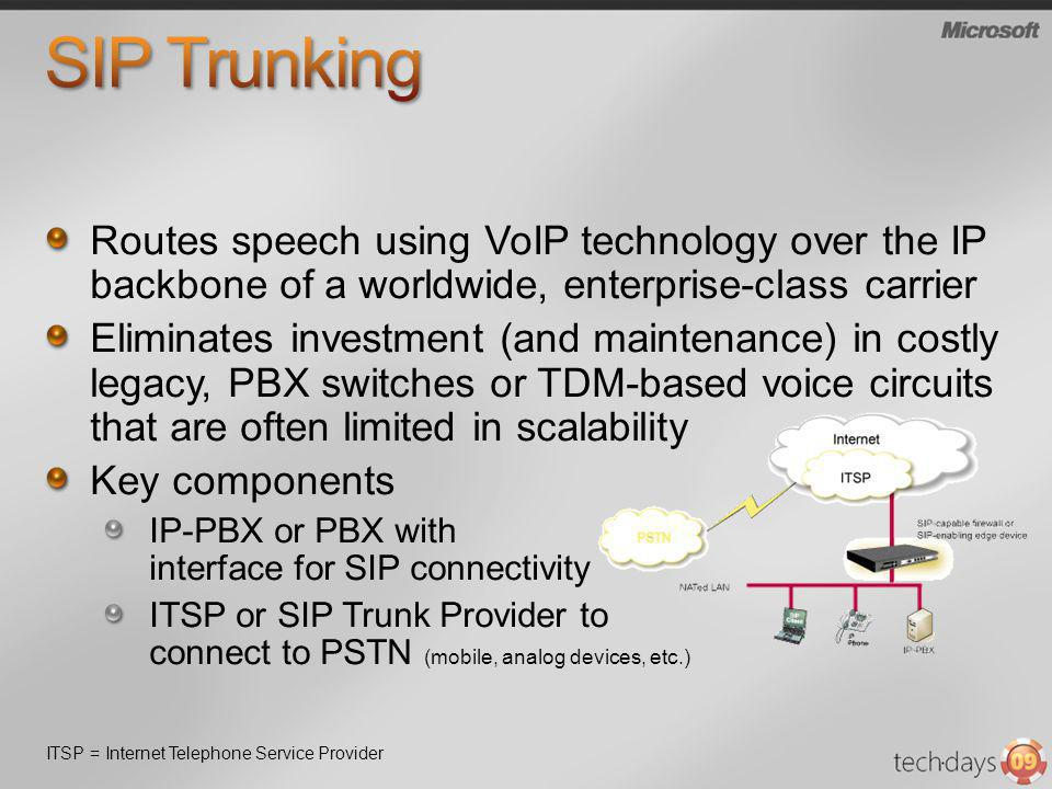 3/31/2017 8:08 PM SIP Trunking. Routes speech using VoIP technology over the IP backbone of a worldwide, enterprise-class carrier.