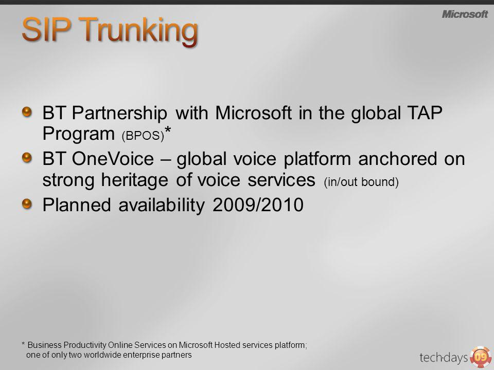3/31/2017 8:08 PM SIP Trunking. BT Partnership with Microsoft in the global TAP Program (BPOS)*