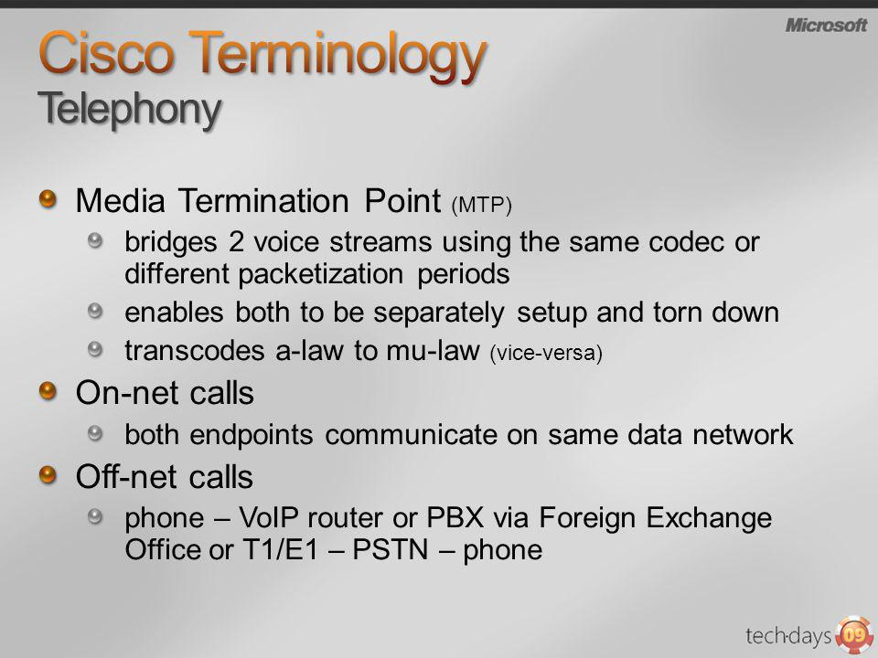 Cisco Terminology Telephony