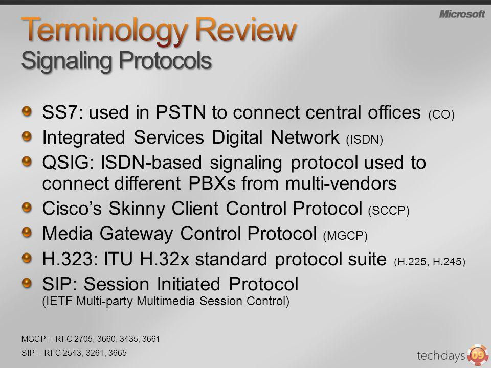 Terminology Review Signaling Protocols