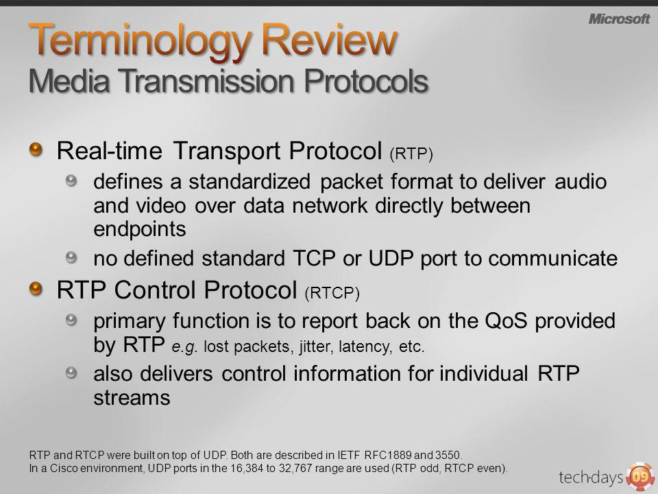 Terminology Review Media Transmission Protocols