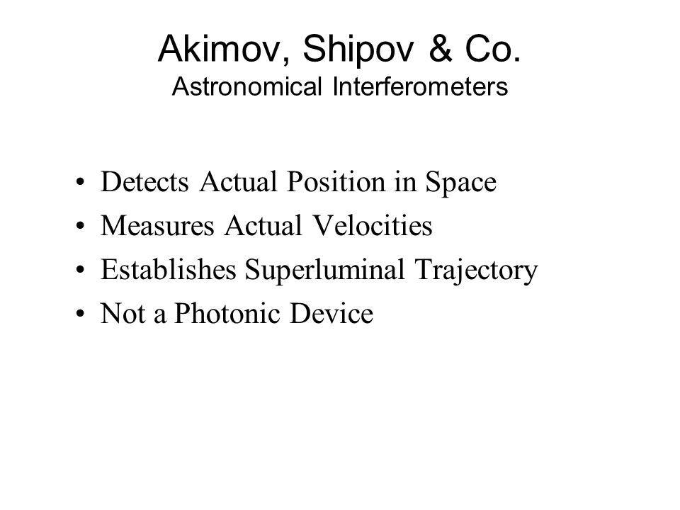 Akimov, Shipov & Co. Astronomical Interferometers