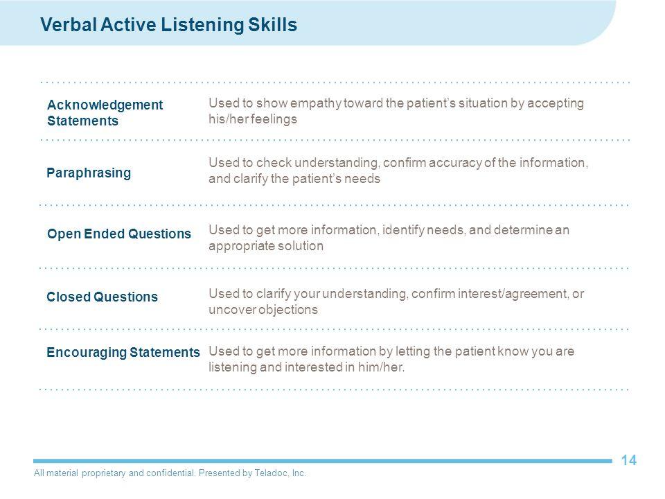 Verbal Active Listening Skills