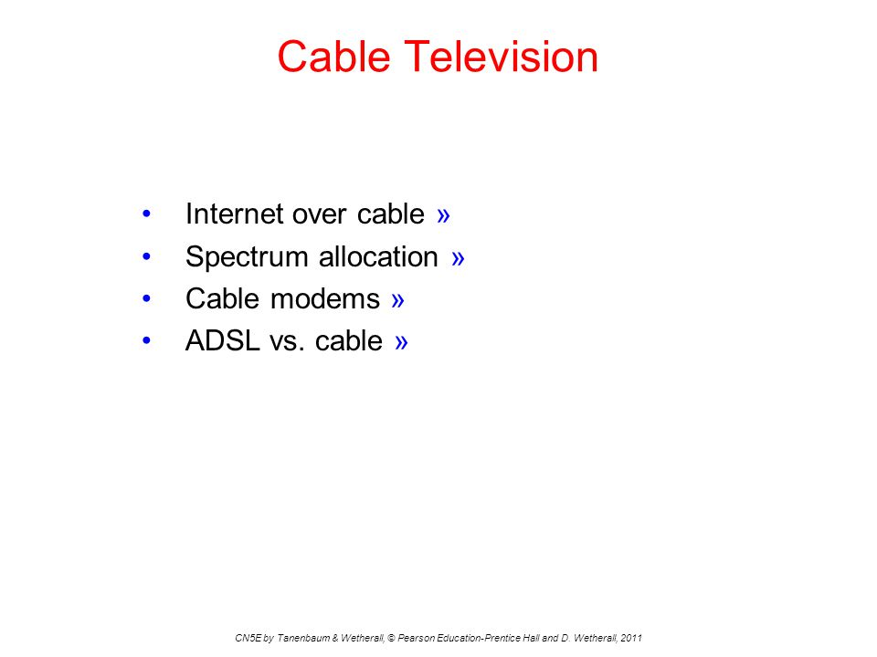 Cable Television Internet over cable » Spectrum allocation »