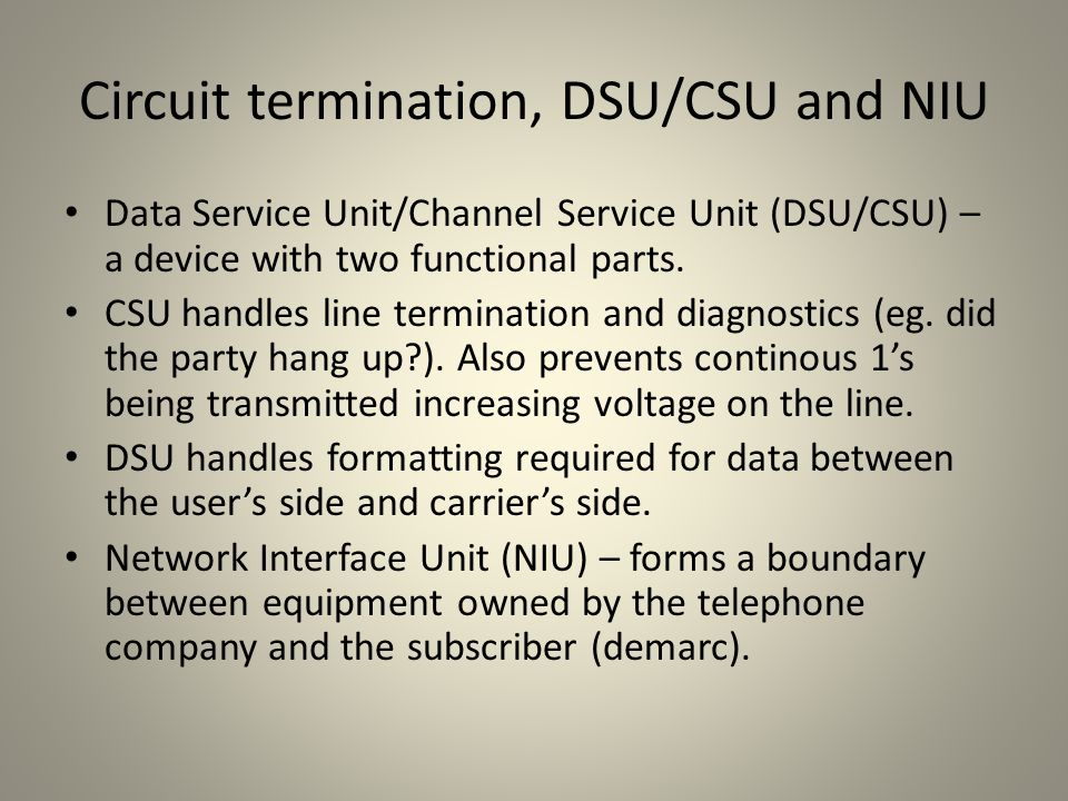 Circuit termination, DSU/CSU and NIU
