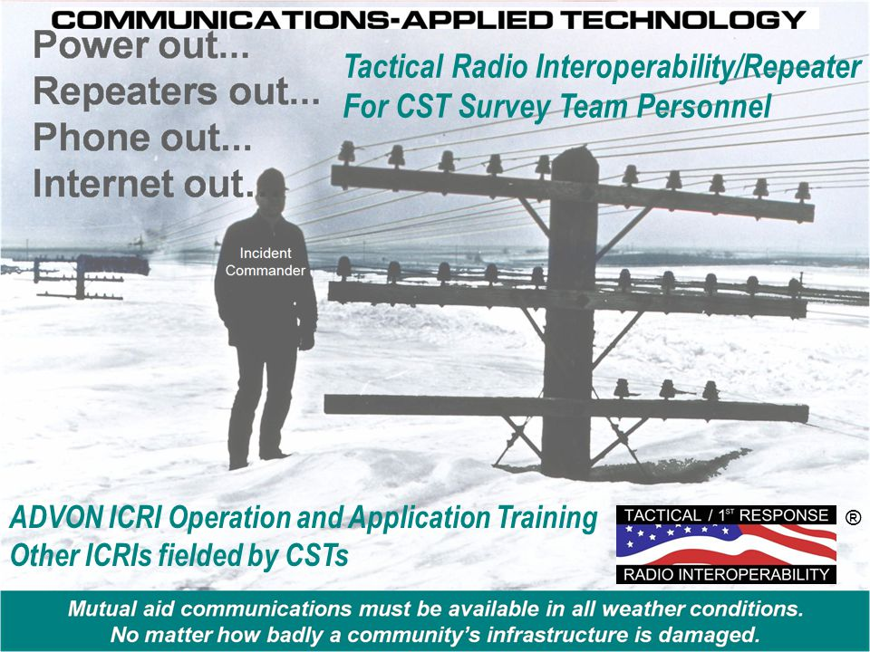 Tactical Radio Interoperability/Repeater For CST Survey Team Personnel